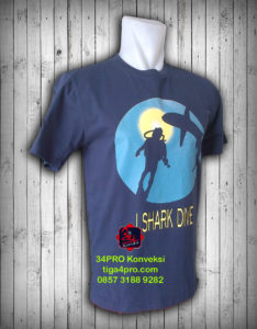 Kaos Oblong Sablon i Shark Dive